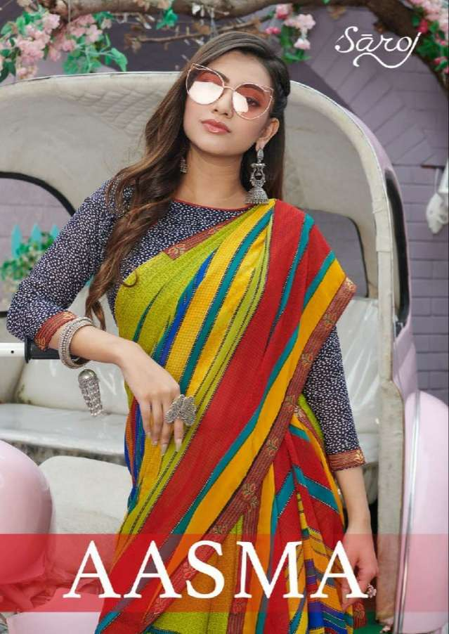 Esta Design Aasma Georgette Beautiful Printed Sarees Collection Wholesalers In Surat