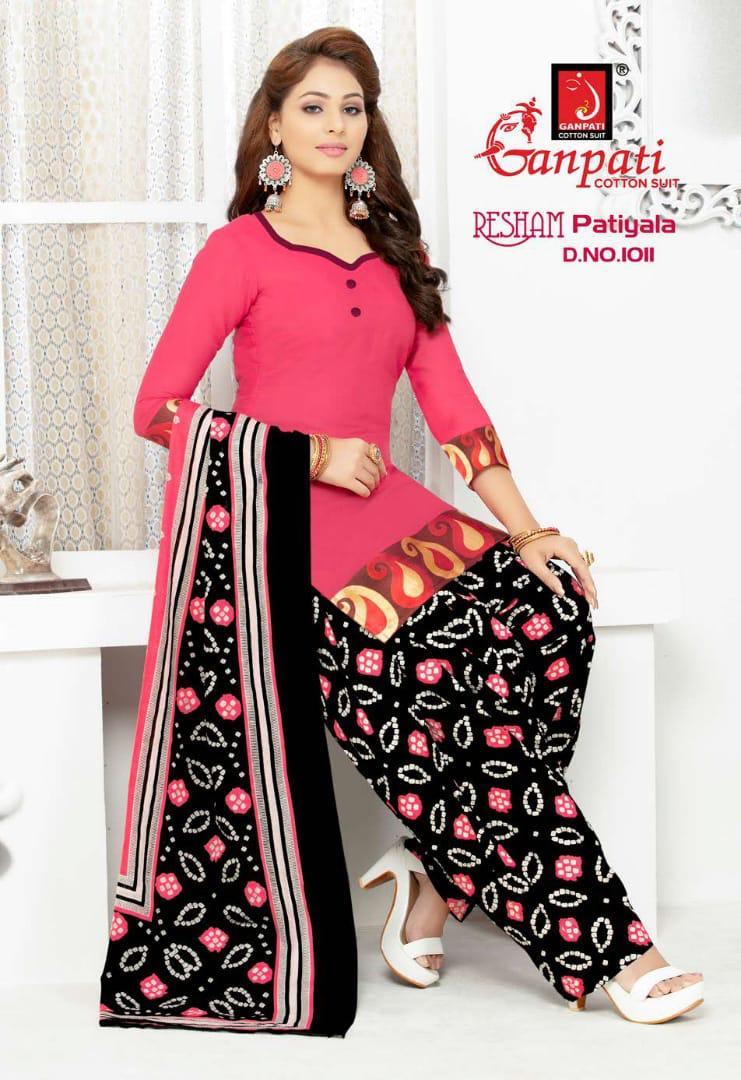 Ganpati Launch Resham Patiyala Cotton Regular Wear Salwar Suit Supplier