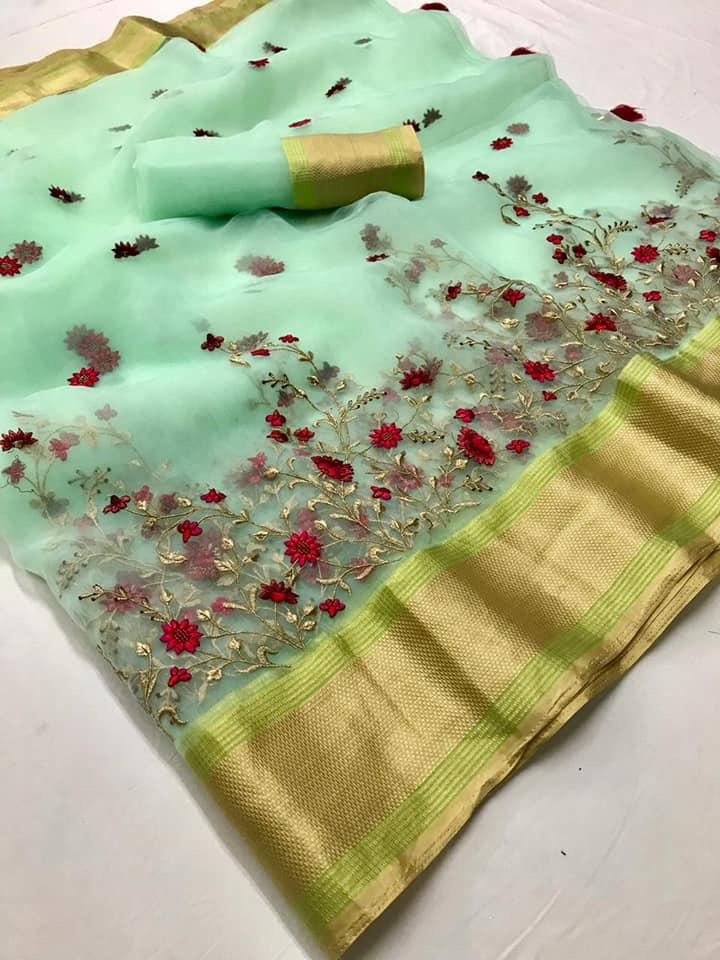 Lt Fashion Navya Organza Silk With Embroidery Work Sarees Collection