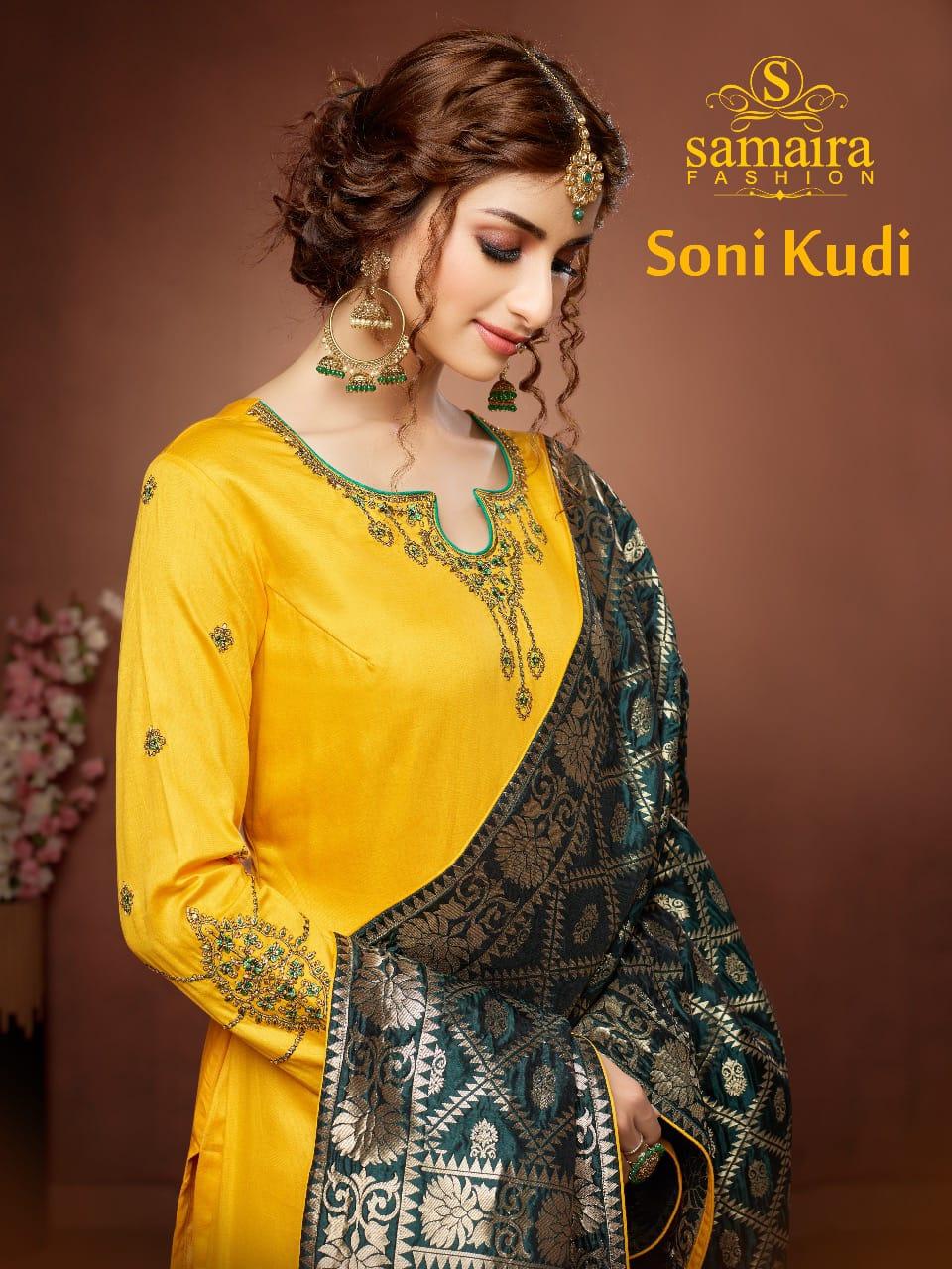 Samaira Fashion Soni Kudi Cotton Jam Silk Banarasi Look Suit In Surat Market