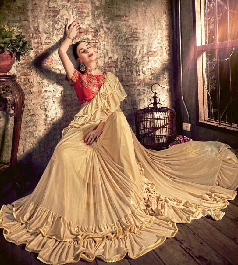 Triveni Saree Katherine Imported Fancy Fabrics Different Style Saris Supplier