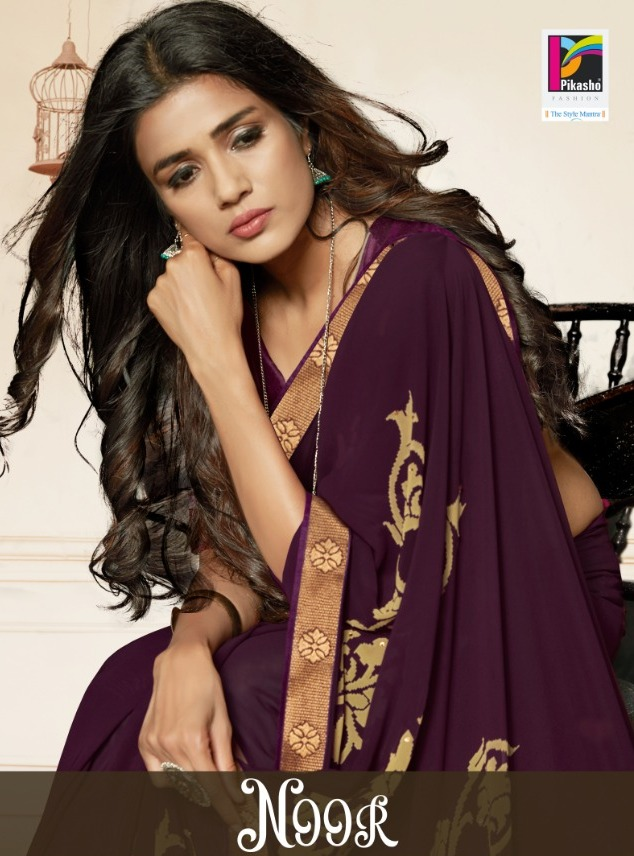 Pikasho Fashion Noor Work Casual Wear Sarees At Cheapest Rate