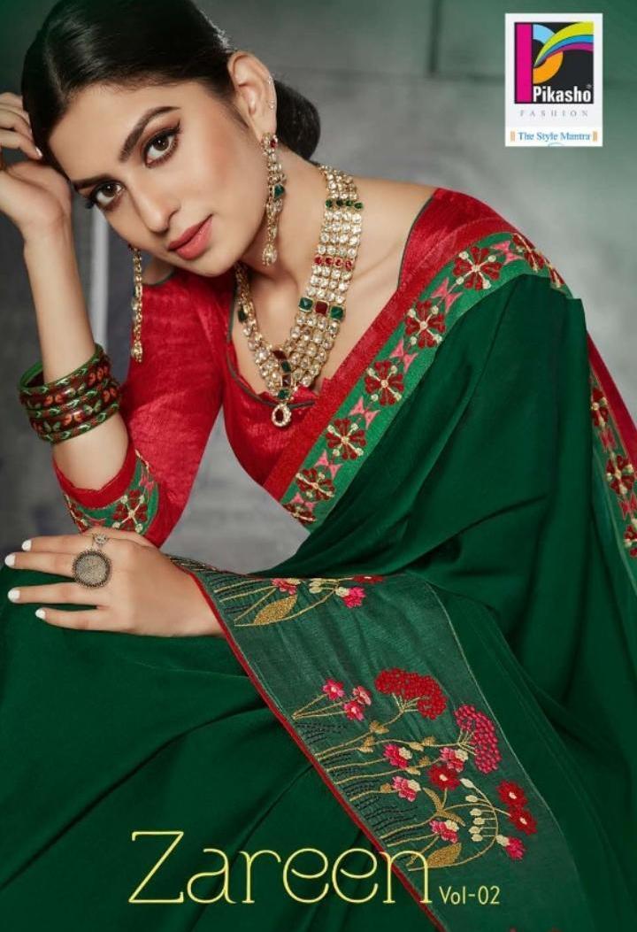 Pikasho Fashion Zareen Vol 2 Fancy Fabrics Elegant Saris Wholesale Store