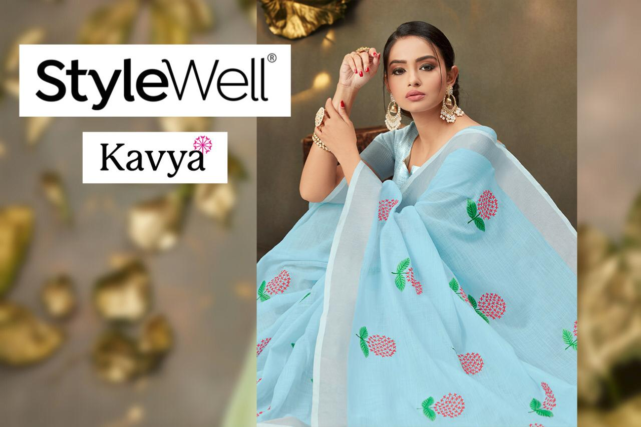 Stylewell Kavya 441-447 Series Linen Cotton With Embroidery Butta Sarees