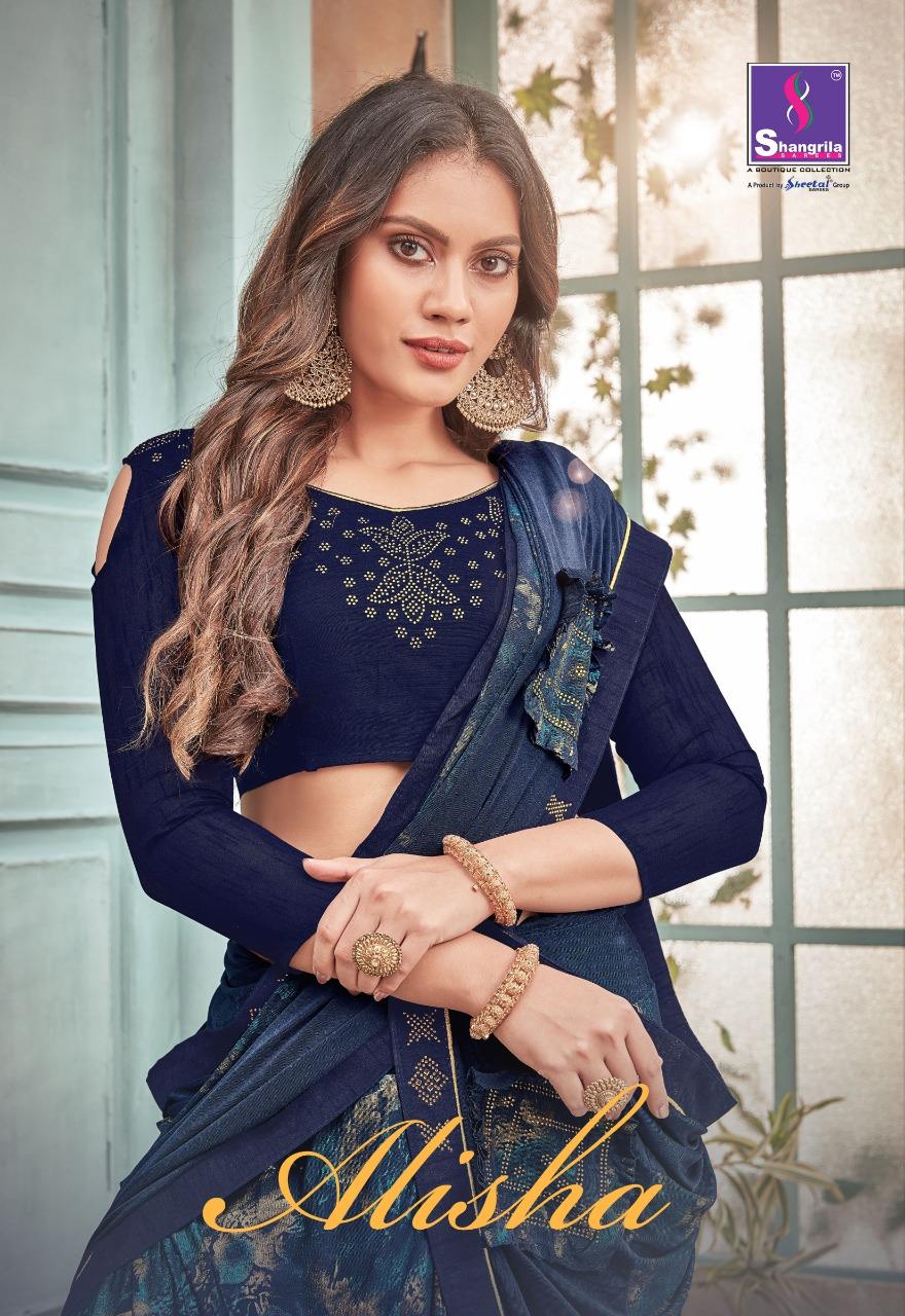 Shangrila Alisha Bollywood Style Imported Fabric With Swarouski Work Saris