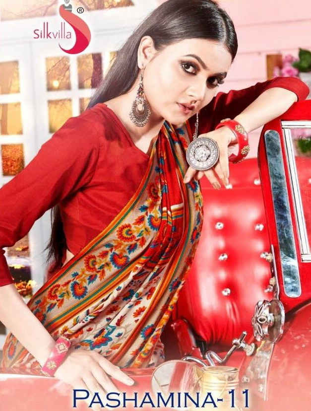 Silk Villa Pashmina Vol 11 Pashmina Sari With Shwal Winter Collection