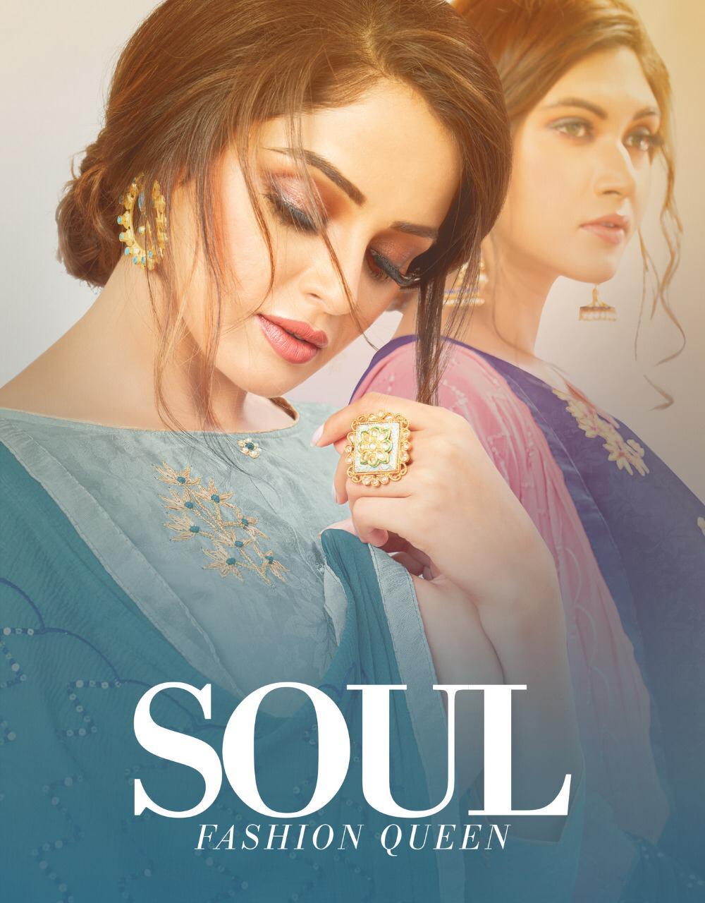Soul By Kapil Trendz Satin Jequard With Work Dress Materials Wholesaler