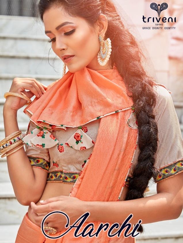 Triveni Launch Aarchi Fancy Designer Ethnic Wear Saris Catalog