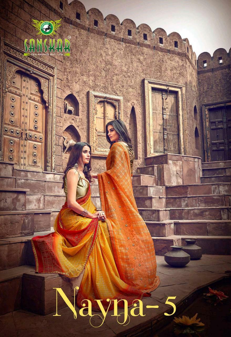 Sanskar Print Nayna Vol 5 Chiffon Woth Work Fancy Saris Collection