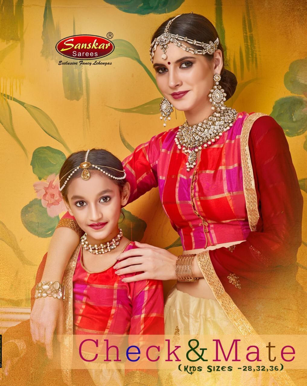 Sanskar Style Check And Mate Buy Mother Kids Lehenga Online At Best Rates