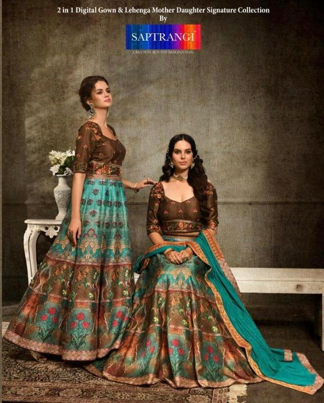 Saptrangi 1101-1108 Series Digital Gown And Lehenga Mother Daughter Collection