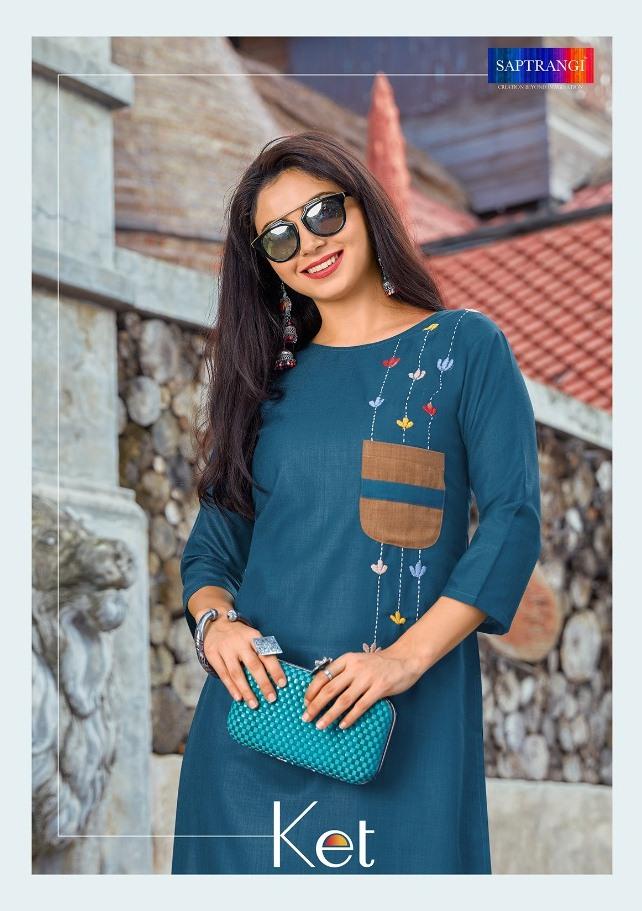 Saptrangi Present Ket Regular Wear Cotton Kurti In Surat Market