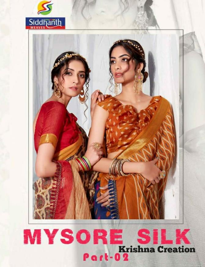 Siddhanth Weaves Present Mysore Silk Part 2 Fancy Cotton Base Saree Wholesaler