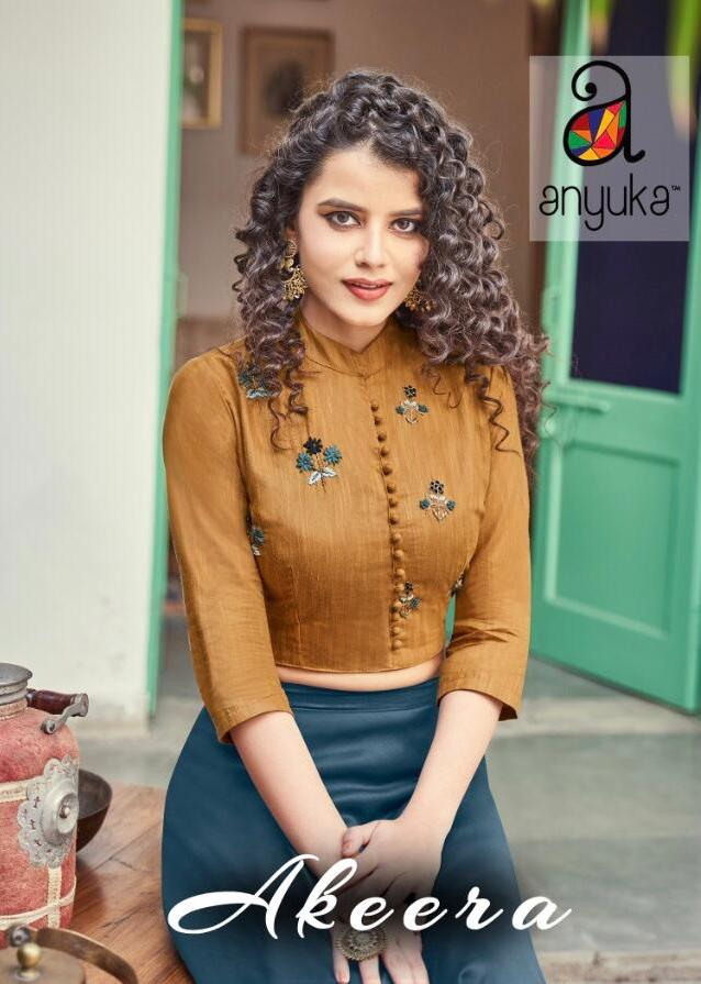 Anyuka Present Akeera Silk Top With Skirt Indo Western Collection Online Store