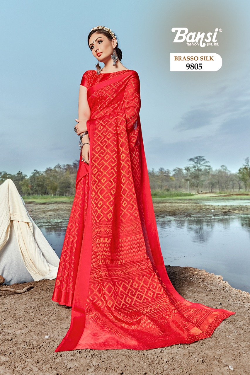 Bansi Fashion Brasso Silk 9801-9808 Series Brasso Fancy Saris Wholesaler
