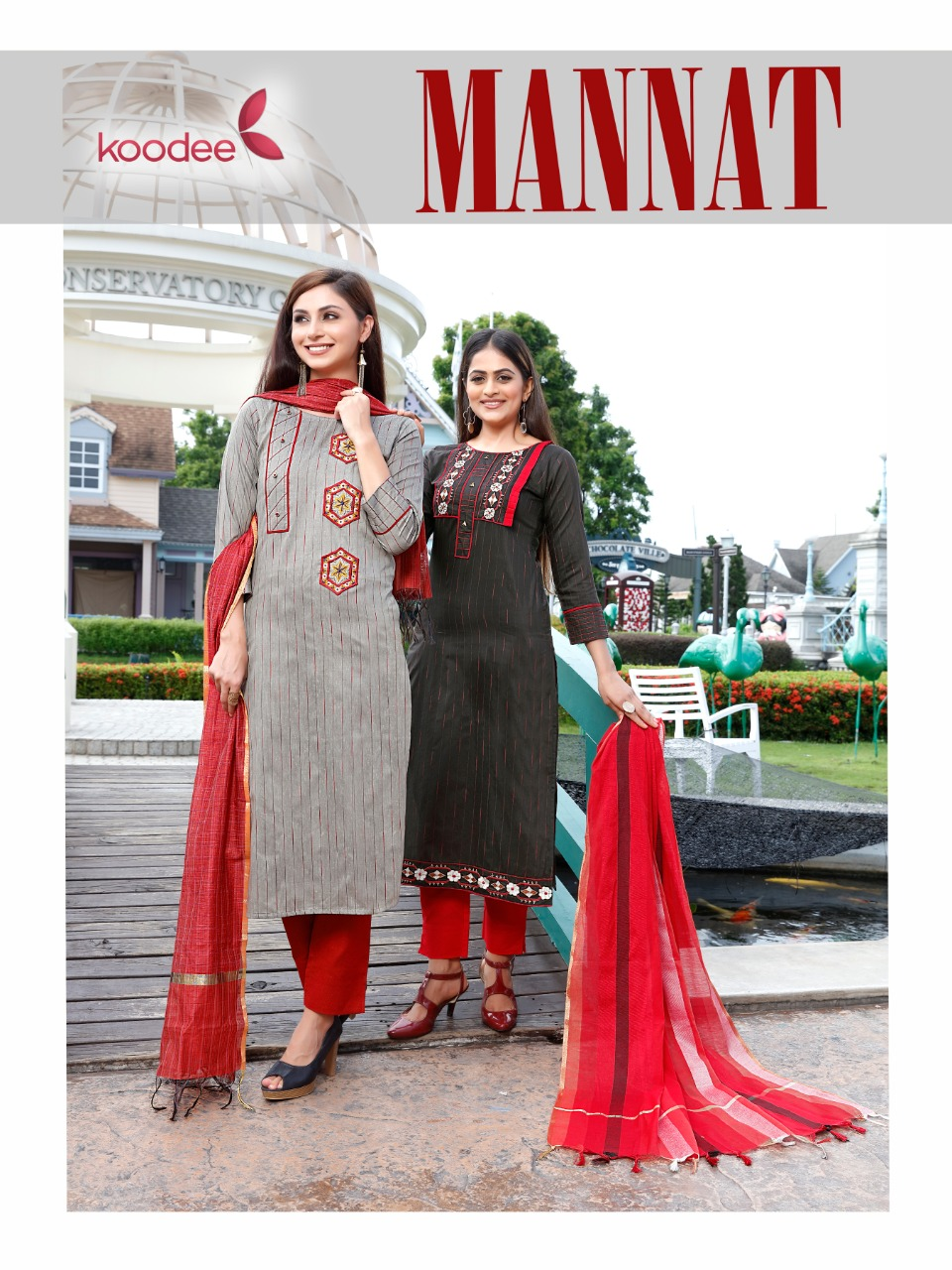 Koodee Mannat Womens Kurtia With Pants Dupatta Set Online