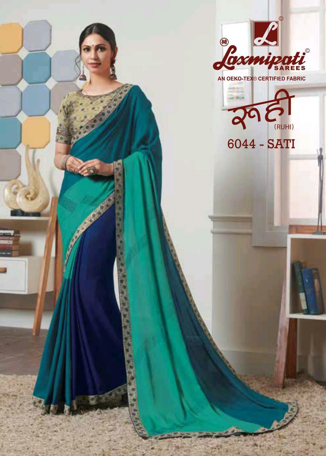 Laxmipati Saree Ruhi 6043-6053 Series Party Wear Designer Saris Supplier In Surat