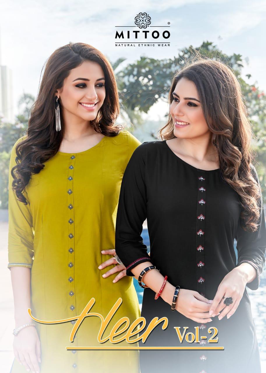 Mittoo Present Heer Vol 2 Rayon Casual Wear Straight Kurti Wholesaler