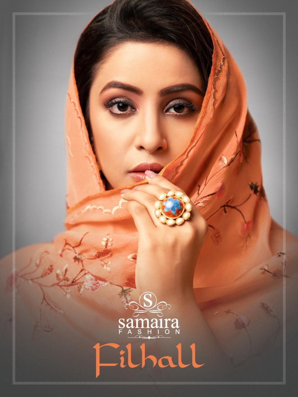 Samaira Filhall Maslin Silk Fancy Embroidery Dress Materials Collection