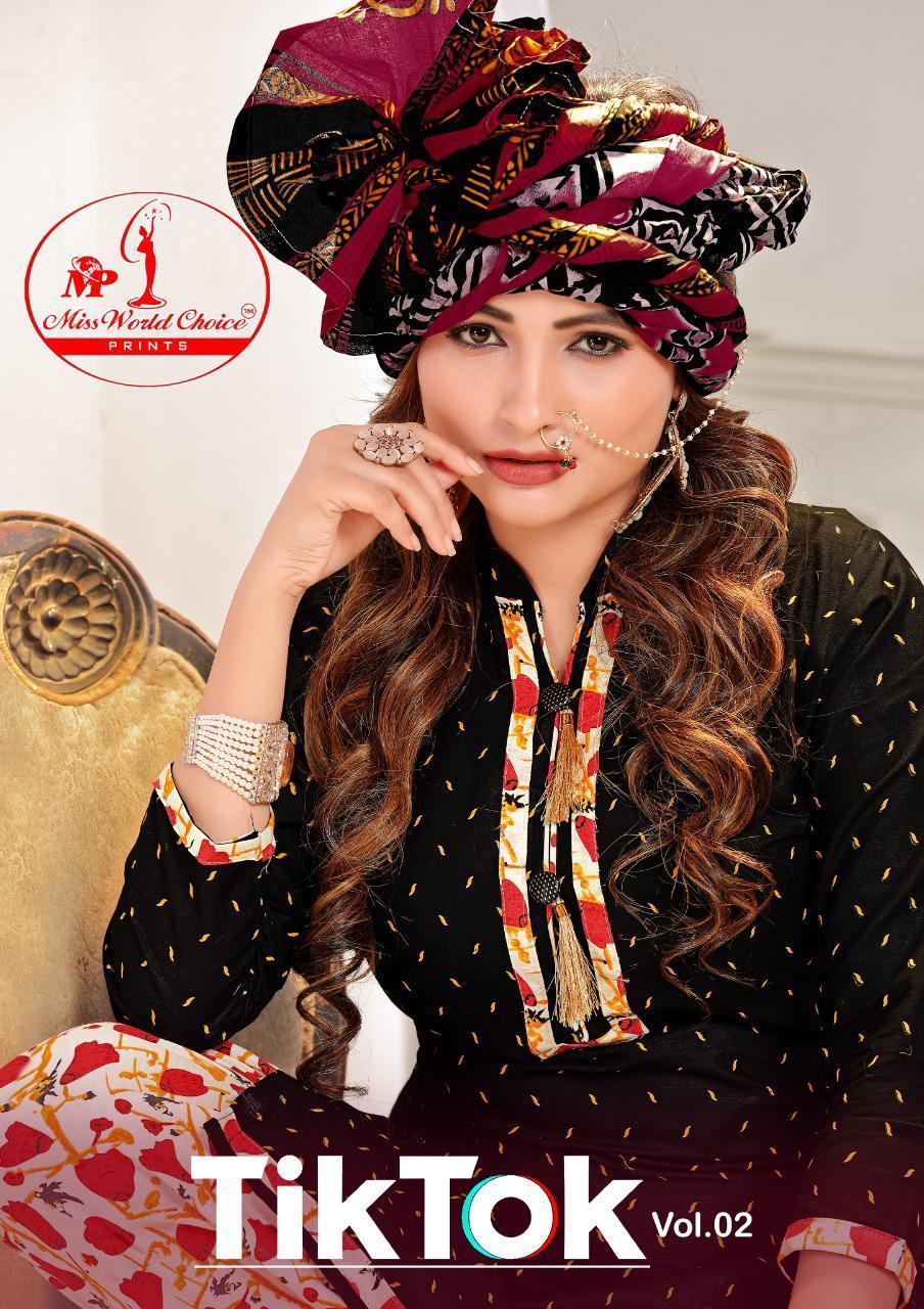 Tik Tok Vol 2 By Miss World Choice Cotton Patiyala Dress Materials