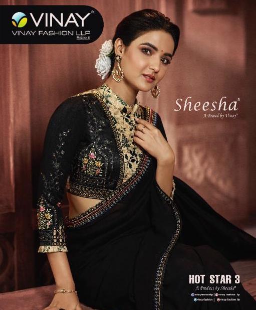 Vinay Sheesha Hot Star Vol 3 12201-12209 Series Silk Embroidery Saris
