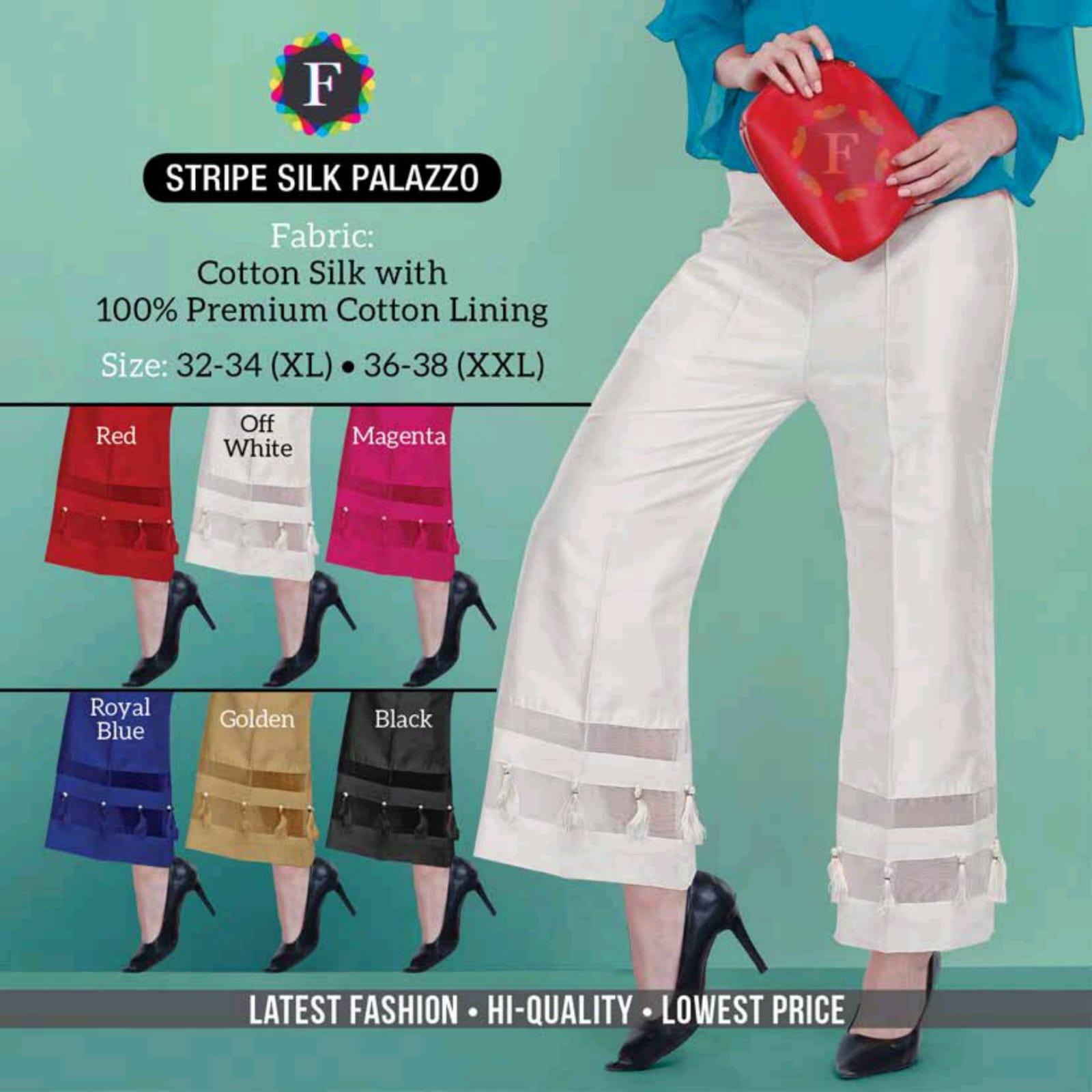 Buy Palazzo Online Foil Palazzo Layered Palazo Stripe Silk Palazzo Printed Palazzo At Cheapest Rates