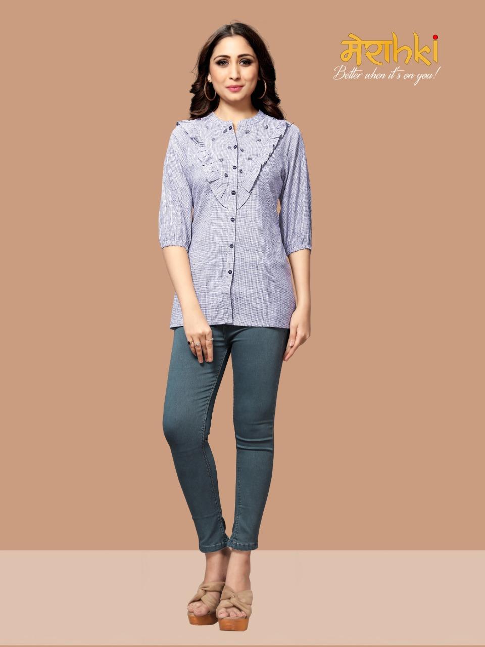 Merahki Present Leeona Cotton Handloom Short Top And Tunics Collection