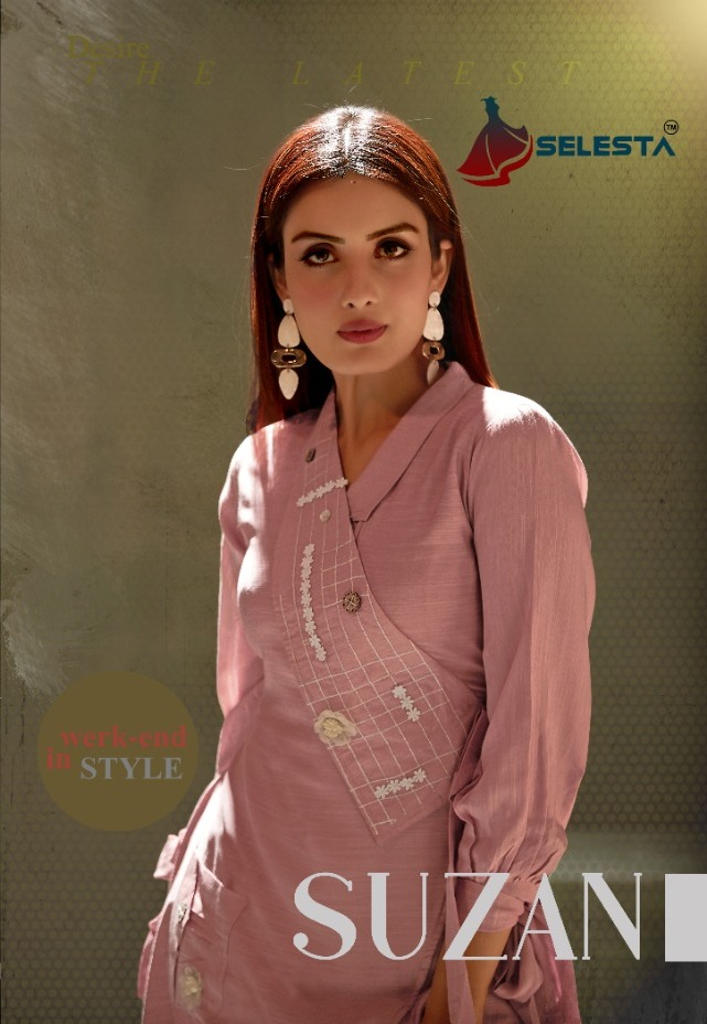 Selesta Present Suzan Silky Slub Embroidery Kurtis Wholesaler