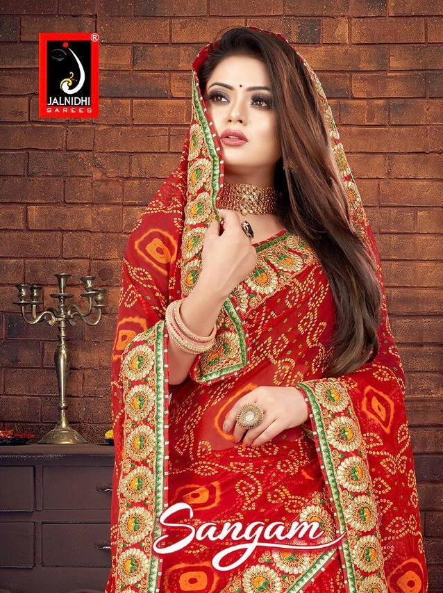 Jalnidhi Present Sangam Georgette Bandhani Saree Red Colour Special