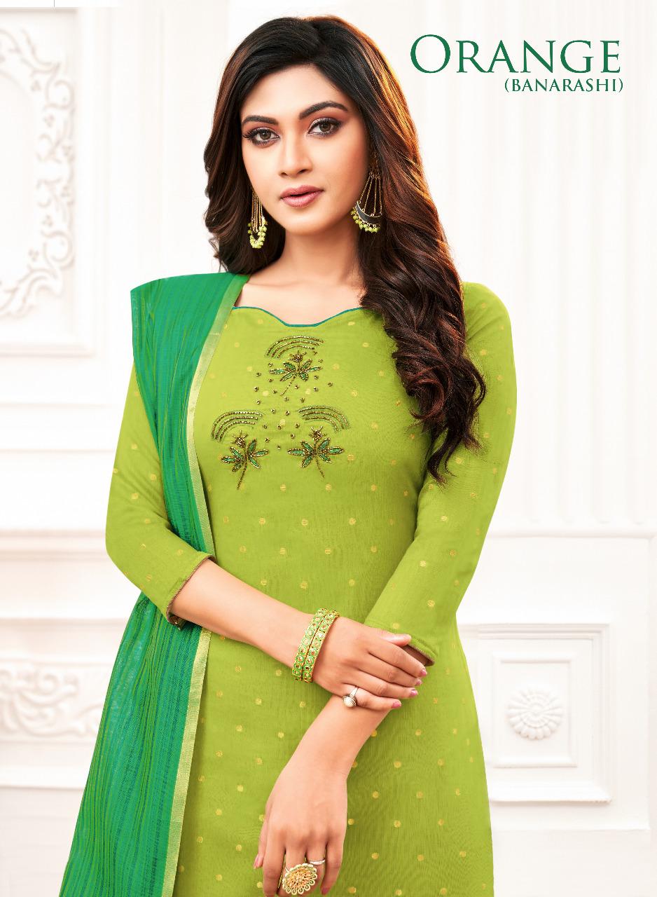 Kapil Trendz Launch Orange Banarashi Jacquard Salwar Suit Collection