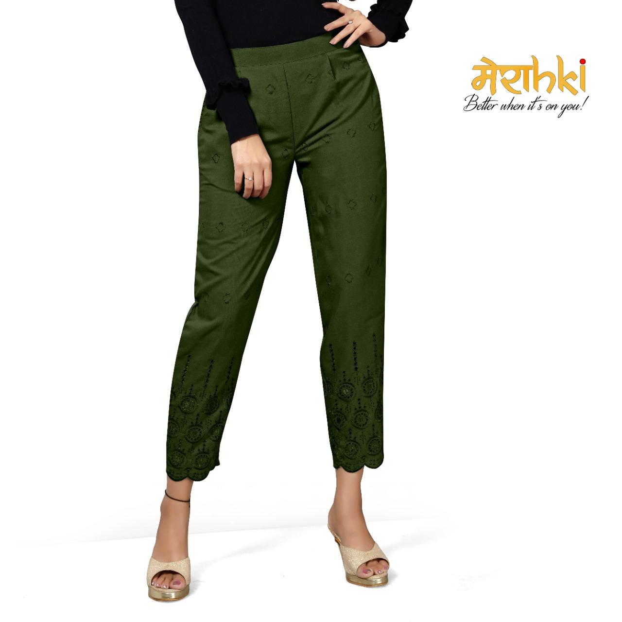 Merahki Present Schiffli Rayon Pant Bottom Wear Collection