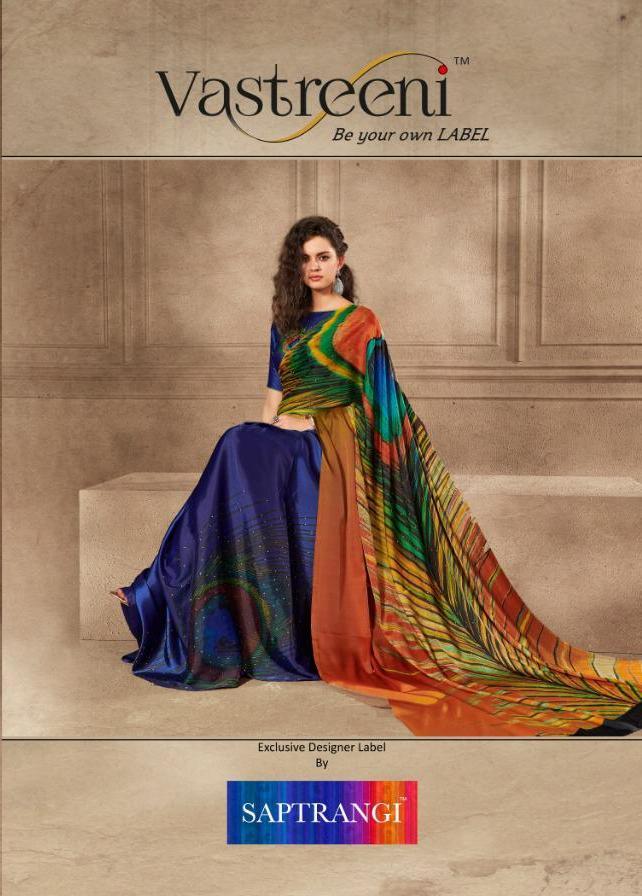 Saptrangi Iconic By Vastreeni Linen Satin Digital Printed Saree
