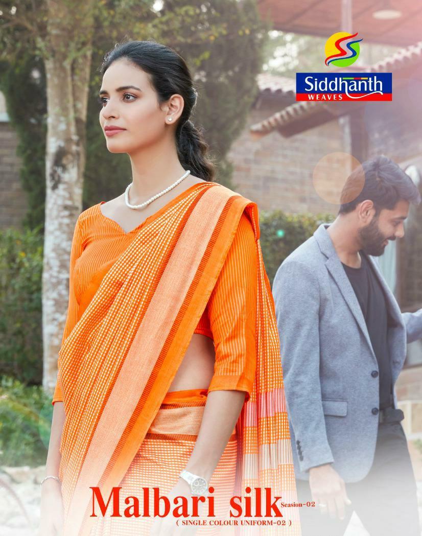 Siddhanth Malbari Silk Vol 2 Cracale Silk Uniform Style Saree Collection