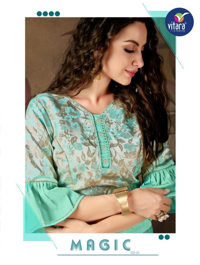 Vitara Magic Vol 5 Imported Silk Fabrics Crop Top With Skirt Collection