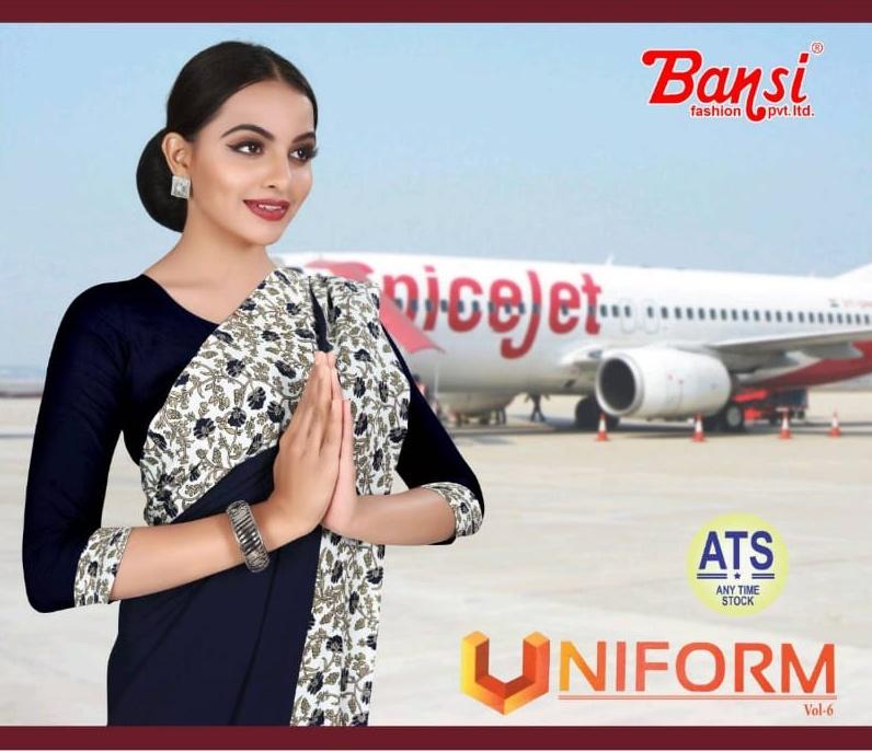 Bansi Ena Uniform Vol 6 Crape Printed Uniform Saree Wholesaler