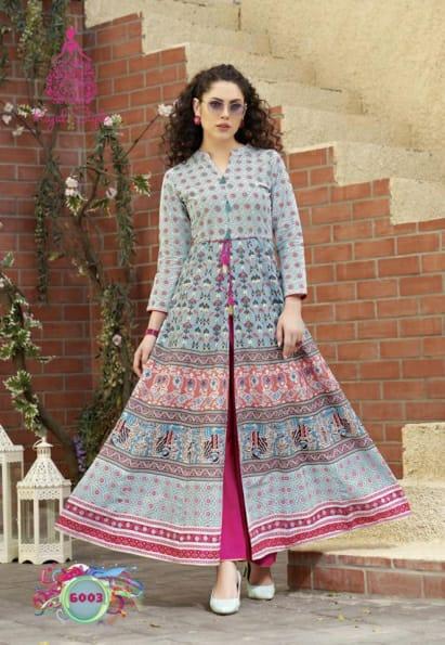 Kajal Style F Seasons Vol 6 Rayon Cotton Long Kurtis And Palazzo Collection