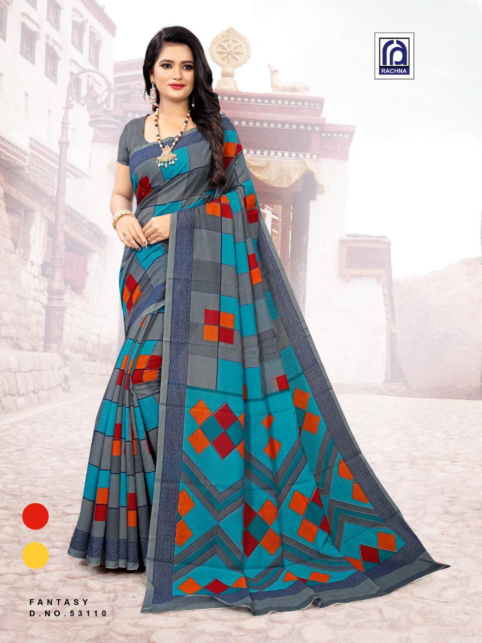 Rachna Launch Fantacy Cotton 53101-53115 Series Saree At Chepest Price