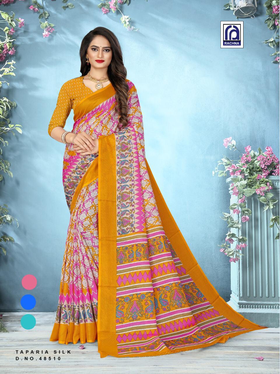 Rachna Present Taparia Silk 48501 Series Cotton Silk Fancy Sarees