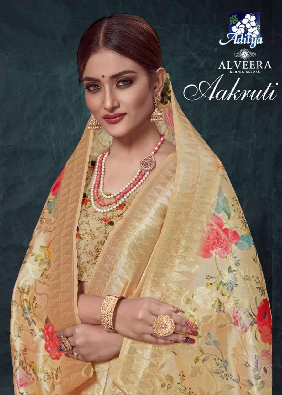 Aakruti By Alveera Silk Base Digital Print Saree With Rich Pallu