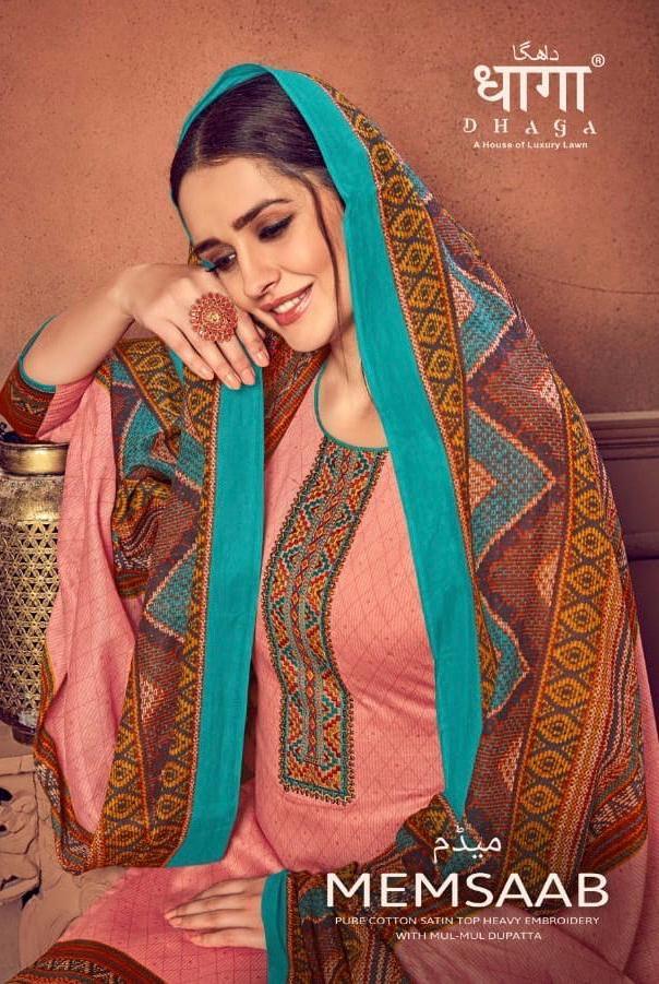 Dhaga Present Memsaab By Aadesh Nx Cotton Satin Salwar Suit