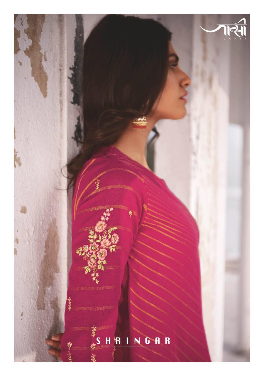 Jansi Shringar Linen Cotton Embroidery Top With Bottom Wholesaler