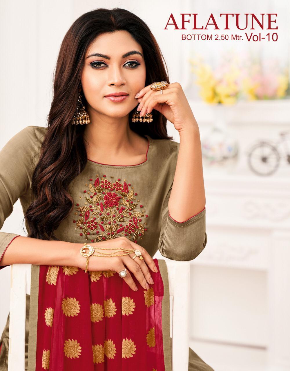 Kapil Trendz Aflatune Vol 10 Silk Casual Wear Patiyala Dress Materials