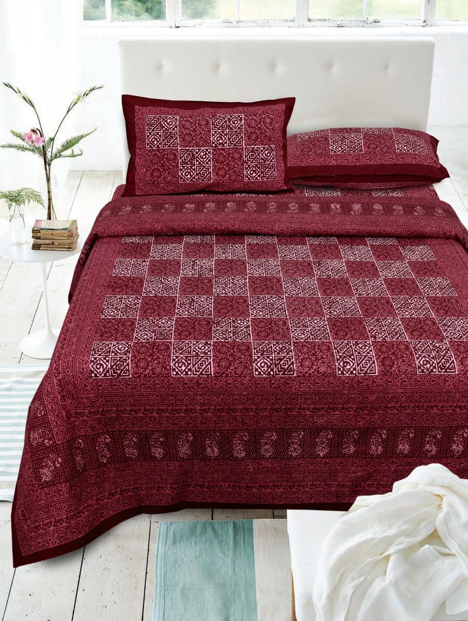 Daabu Prints Cotton Bed Sheets Dark Color Matching Bedsheets Buy Online
