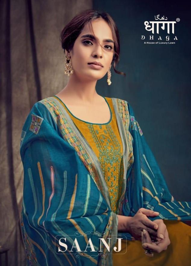 Dhaga Present Saanj By Aadesh Pure Jam Casual Wear Dress Materials Wholesaler