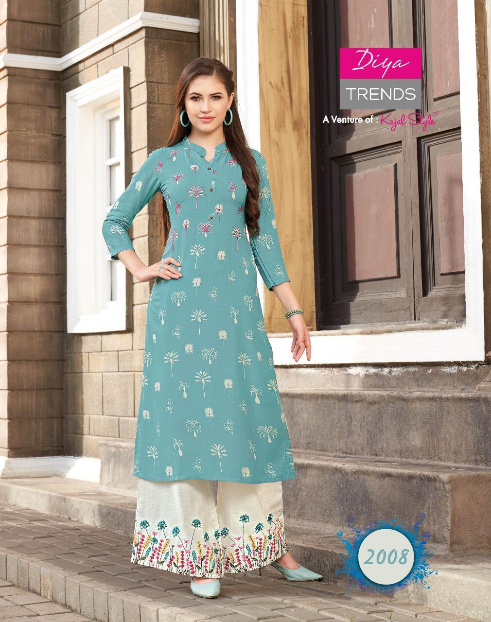 Diya Trends Fashion Angel Vol 2 Rayon Fancy Kurti With Plazzo Sharara And Skirt Pair