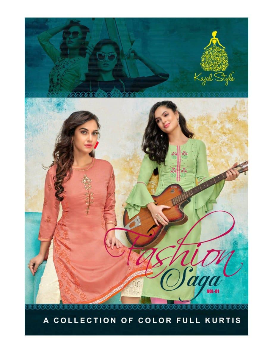 Kajal Style Fashion Saga Vol 1 Muslin With Work Collection Of Colour Full Kurti