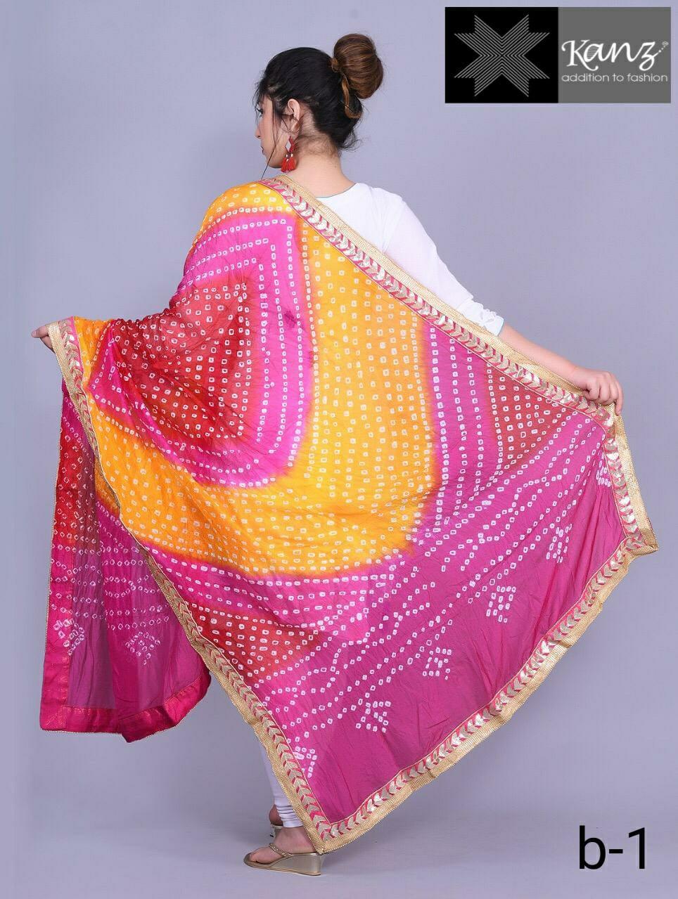 Kanz Scarf Bandhej Dupatta With Gotapatti Lace Border Festive Collection