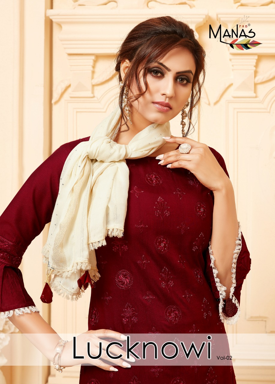 Manas Lucknowi Vol 2 Exclusive Concept Of Kurtis Bottom With Stole Gorgeous Festive Looks