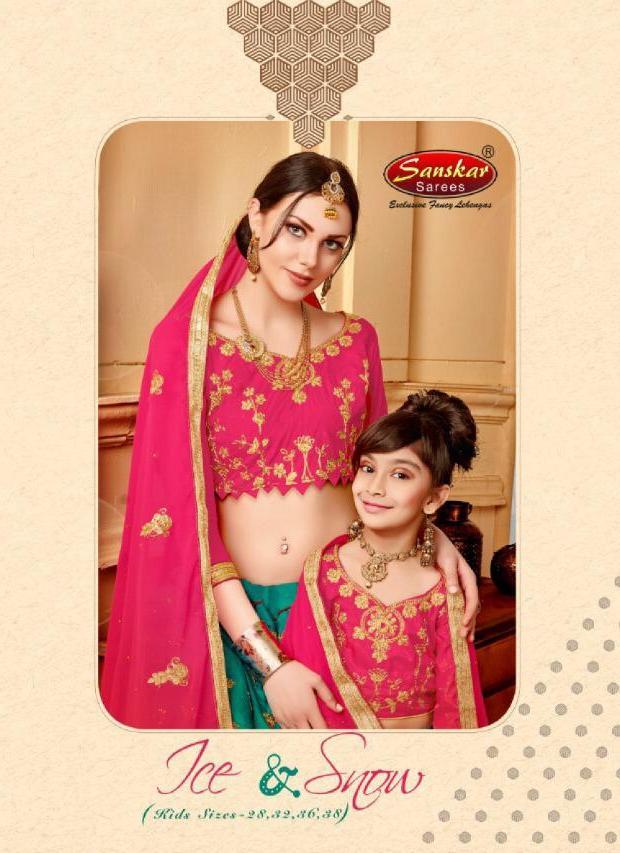 Sanskar Style Present Ice And Snow Mother And Daughter Silk Lehanga
