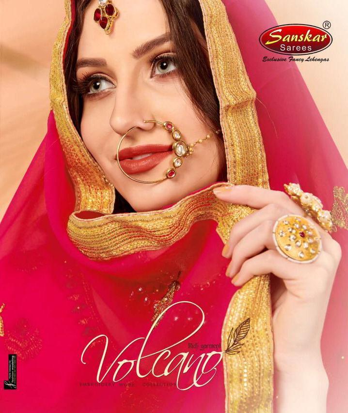 Sanskar Style Volcano Heavy Silk Designer Lehenga At Wholesale Rate In Surat Market